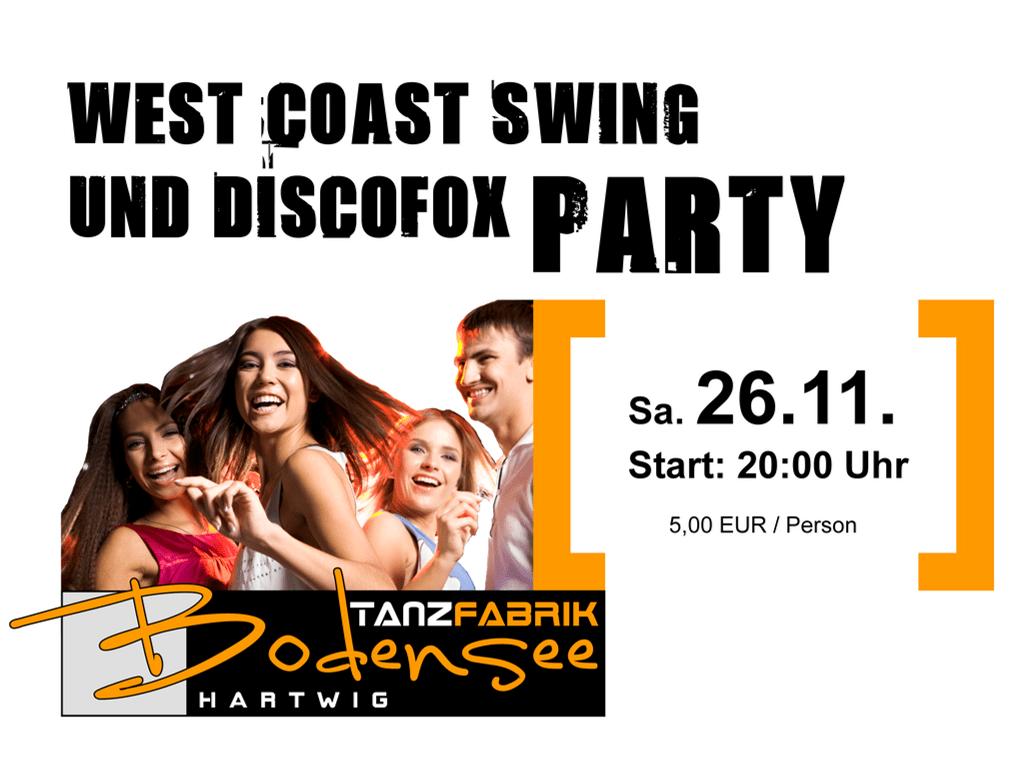 West Coas Swing und Discofox Party am Bodensee in der Tanzfabrik