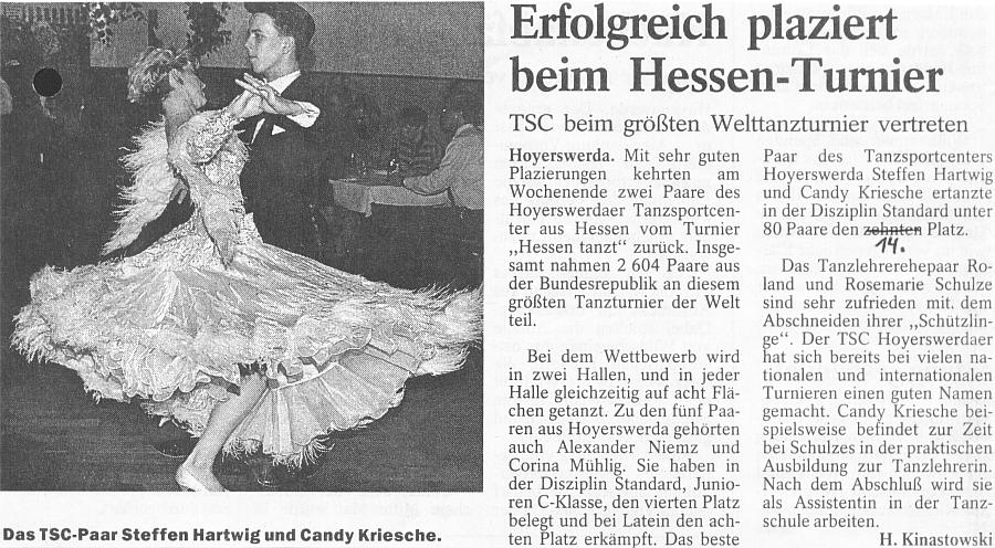 Steffen und Candy Hartwig beim grössten Welttanzturnier erfolgreich platziert