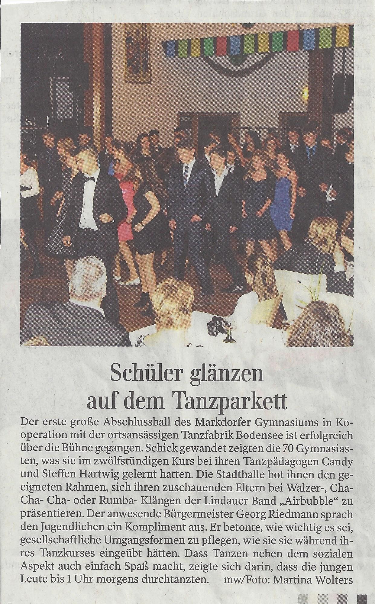 Tanzschule Tanzfabrik Bodensee Abschlussball Schülerkurs vom BZM Markdorf 2015